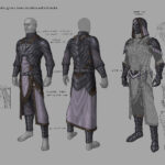 These are designs for the Robes of the Worm Cult. The Cult of the Black Worm is a society of necromancers, worshipers of Molag Bal, and evil fiends devoted to the hastening of the Planemeld. They sow dissent wherever they operate, performing foul rituals, hoarding powerful relics, and raising undead minions to cause chaos.