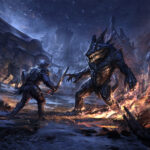 This shows a battle with a daedroth, a crocodile-headed humanoid Daedra. Reptilian and massive, simple and brutish, daedroth are savage, ravenous beasts. Their thick hides are resistant to magical attacks, and they're known to belch forth fire—a devastating addition to their powerful attacks.